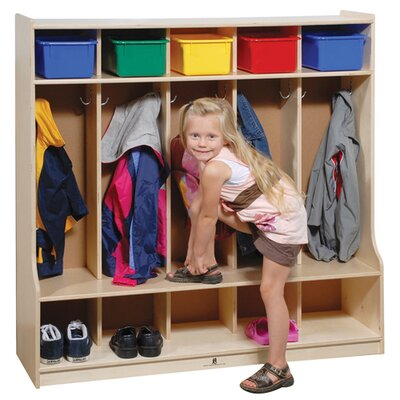 Steffy Wood Products Five Section Locker with Seat/Step