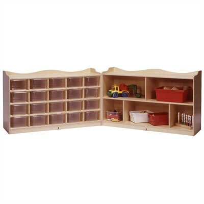 Steffy Wood Products 20-Tray Scalloped Fold and Lock Mobile Storage Unit