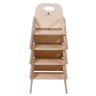"Steffy Wood Products 9"" Wood Classroom Toddler Stackable Chair with Strap"