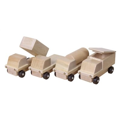 Steffy Wood Products Maple Transportation 4 Piece Truck Set