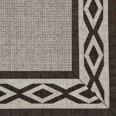 Paradise Retreat Jumbo Boucle Labyrinth Toasted Pecan Bordered Rug