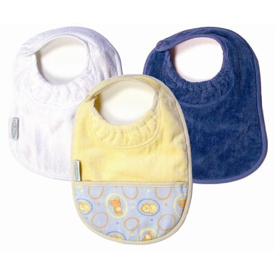 Silly Billyz Neutral Bibs 3 Pack in White and Teal Plain, and Butter with Pocket