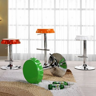 International Design USA Soda Cap Adjustable Swivel Metal Bar Stool