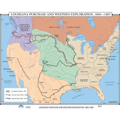 Universal Map U.S. History Wall Maps - Louisiana Purchase / Western Exploration