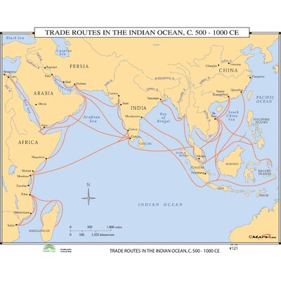 World History Wall Maps - Trade Routes in the Indian Ocean ...