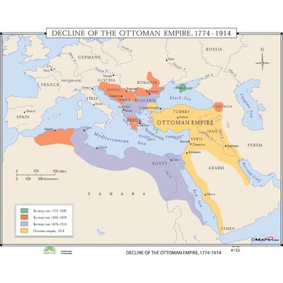 Universal Map World History Wall Maps - Decline of Ottoman Empire