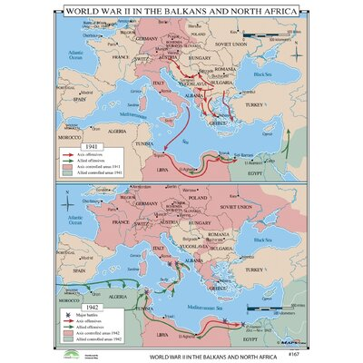 Universal Map World History Wall Maps - World War II in Balkans & North Africa