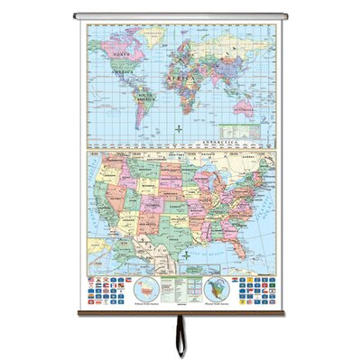 Universal Map U.S. and World Stacked Wall Map on Roller