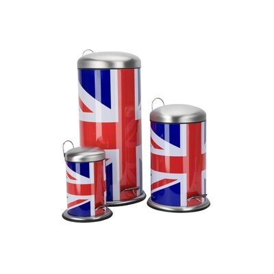 Ethos Cool Britannia Union Jack Pedal Rubbish Bin Set (Set of 3)