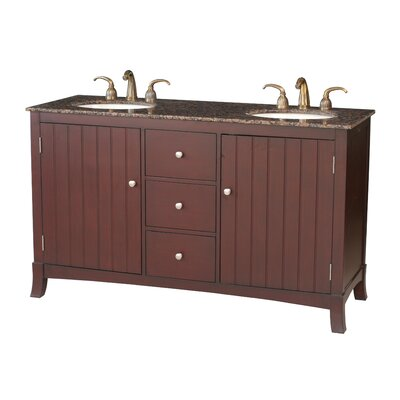 Stufurhome Alexis 60&quot; Double Bathroom Vanity in Cherry Red with Granite Top