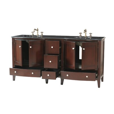 "Stufurhome Corona 72"" Double Bathroom Vanity in Polished Dark Brown with Granite Top"