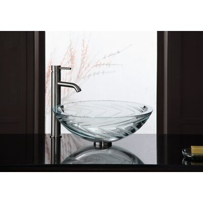 Xylem UltraGlass Vessel Bathroom Sink with Zig Zag Design