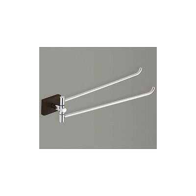 Gedy by Nameeks Minnesota Woods Double Towel Bar with Espresso Wood Mount in Chrome