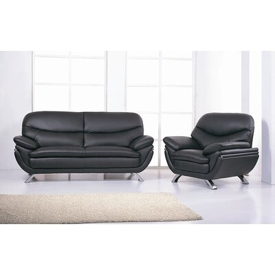 Hokku Designs Jonus Leather Sofa and Chair Set