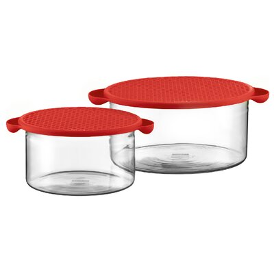 Hot Pot Set Borosilicate Glass Baking Dish in Red