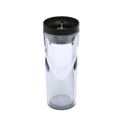 Bistro Double-Walled Plastic Travel Mug with Radial Sip-Anywhere Lid