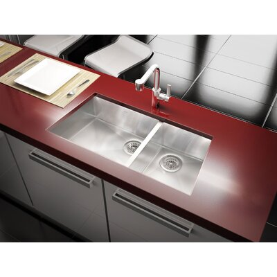 Julien Trapezoid 34.33' x 17.5' Undermount Stainless Steel Double Bowl Kitchen Sink