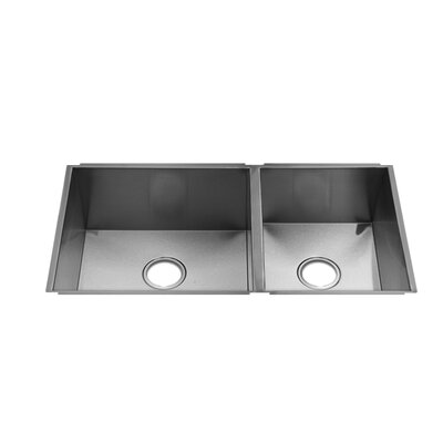 Julien UrbanEdge 10.75&quot; x 14.5&quot; Undermount Stainless Steel Double Bowl Kitchen Sink with Rear Drain Placement