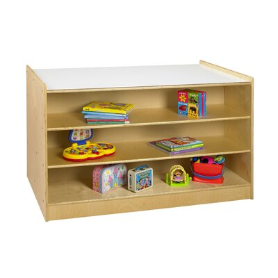 A&E Wood Designs Cubbie Mobile Storage Island in Natural