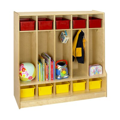A&E Wood Designs Cubbie Locker With Step Bench in Natural