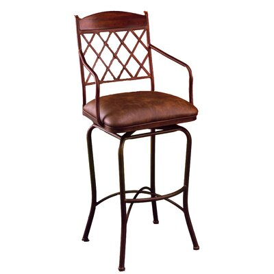 Pastel Furniture Napa Ridge Rust 30&quot; Swivel Bar Stool w/ Arms in Coffee Fabric