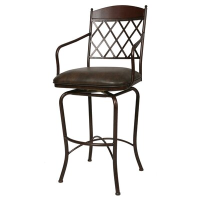 "Pastel Furniture Napa Ridge Rust 30"" Swivel Bar Stool w/ Arms in Coffee Fabric"