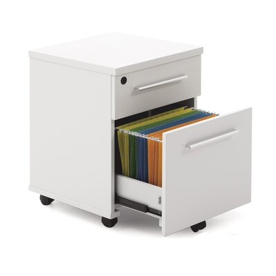 Two Drawer Mobile Pedestal in White Lacquer