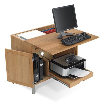 Wood cpu storage desk wayfair for Desk for computer and printer
