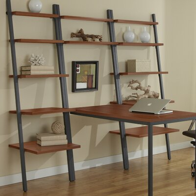 Jesper Office Parson Ladder Bookcase with Peninsula Writing Desk