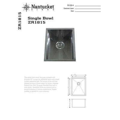 "Nantucket Sinks 16.5"" x 13"" Zero Radius Single Bowl Undermount Bar  Sink"