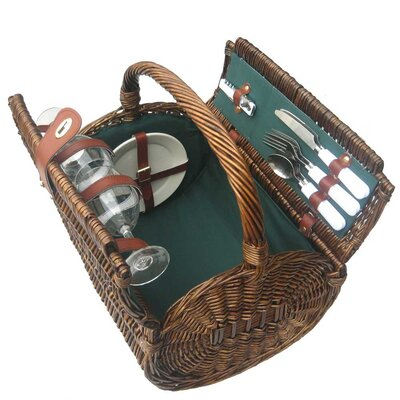 Sutherland Baskets Tierce Picnic Basket in Hunter Green Lining