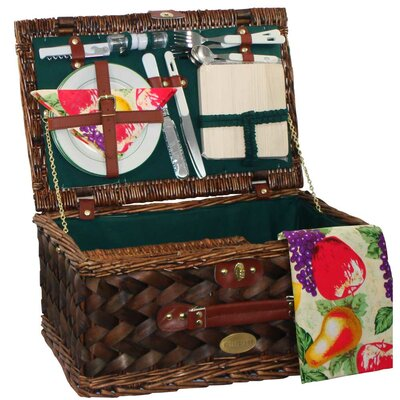 Classic Country Picnic Basket in Hunter Green Lining