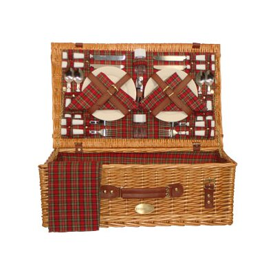 Sutherland Baskets Majestic Picnic Basket in Red Plaid