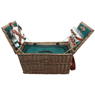 Covington Insulated Picnic Basket in Hunter Green Lining