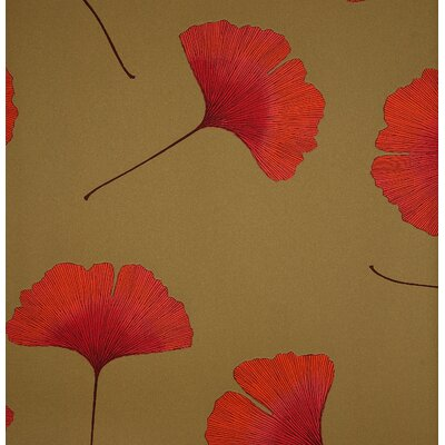 Marimekko Biloba Wallpaper in Orange and Green by Kristina Isola