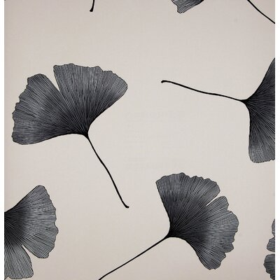 Marimekko Biloba Wallpaper in Black and Ivory by Kristina Isola