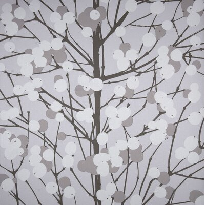 Marimekko Lumimarja Wallpaper in Grey and White by Erja Hirvi