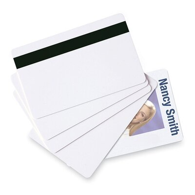 """Baumgartens PVC ID Card, CR80 Size, 30 mil Thick, 2-1/8""""x3-3/8"""", 100 per Pack, White"""