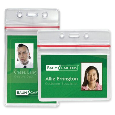 "Baumgartens Sealable Card Holders Horizontal 2-5/8""x3-3/4"",50/PK,Clear"