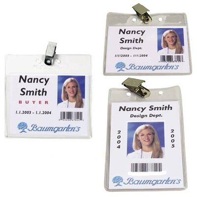 "Baumgartens Vinyl Badge Holder,Clip,Horizontal,4""x3"",50/PK,Clear"