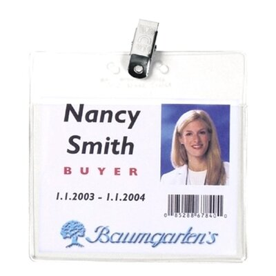 "Baumgartens Vinyl Badge Holder,Clip,Horizontal,2-1/2""x3-1/2"", Clear"