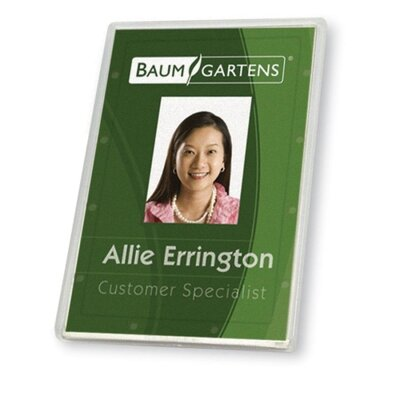 "Baumgartens ID Card Holder, Vertical, 2-1/8""x3-3/8"", 25/PK, Clear"