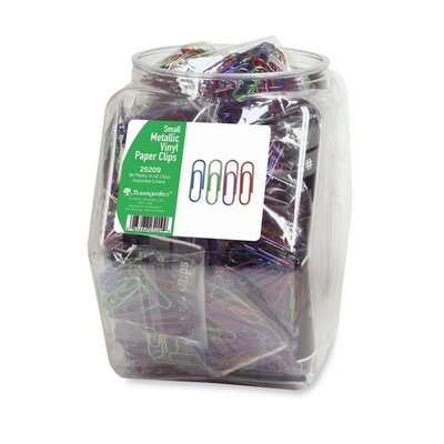 Baumgartens Paper Clips, Small, Metallic/ Vinyl Coated, 36 per Set, Assorted