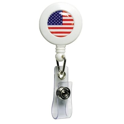 "Baumgartens Card Reel, with American Flag Design, 1-1/4""D, 24""L"