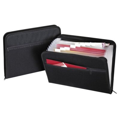 Globe Weis Zip File, Fabric, 13 Pockets, 14&quot;x10&quot;, A-Z, Monthly, Black