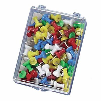 "Officemate International Corp Push Pins, Plastic, Assorted Colors, Head 1/2"" L"