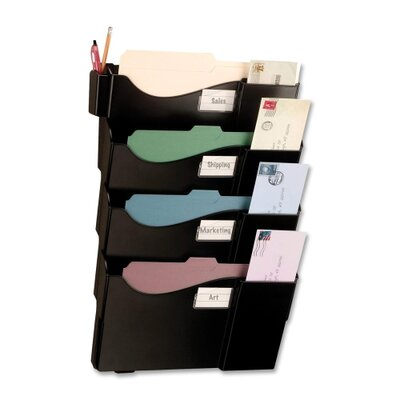 "Officemate International Corp Starter Filing System,w/4-Pockets,16-5/8""x4-3/4""x23-1/2"",BK"