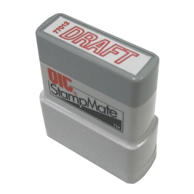 Officemate International Corp Pre-Ink Stamper, Draft, Red