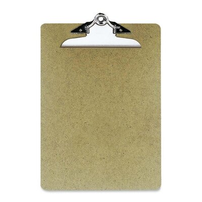 "Officemate International Corp Hardboard Clipboard, 1"" Paper Capacity, 9""x12-1/2"", Brown"