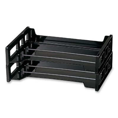 "Officemate International Corp Stackable Desk Trays, Side Load, 13-3/16""x9""x2-3/4"", 2 per Pack, Black"